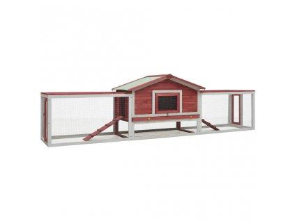 Králíkárna červená 303x60x86 cm masivní borové a jedlové dřevo