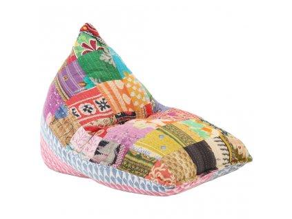 Sedací vak vícebarevný textil patchwork