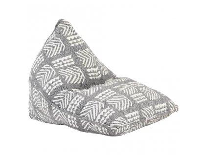Sedací vak šedý textil patchwork