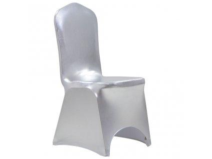 Potahy na židle 6 ks napínací stříbrné