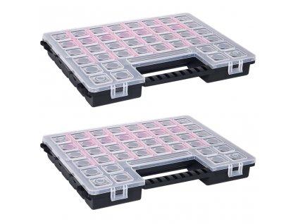 Boxy na součástky 2 ks nastavitelné přihrádky 385 x 283 x 50 mm