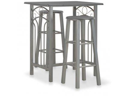 3dílný barový set dřevo a ocel antracitový
