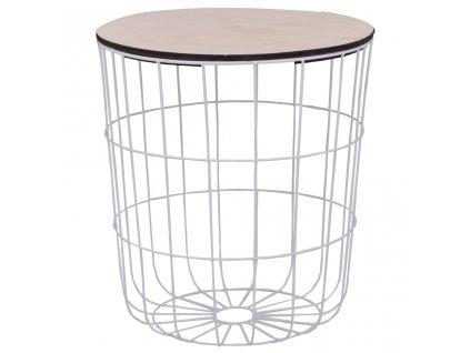 Konferenční stolek bílý Ø 39,5 cm