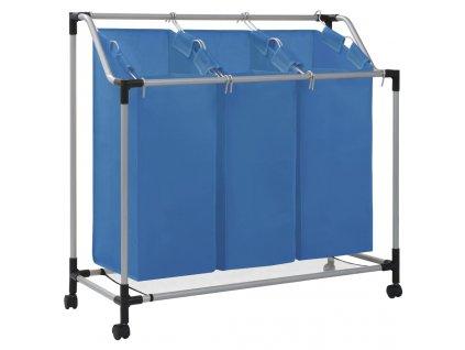 Koš na třídění prádla se 3 vaky modrý ocel