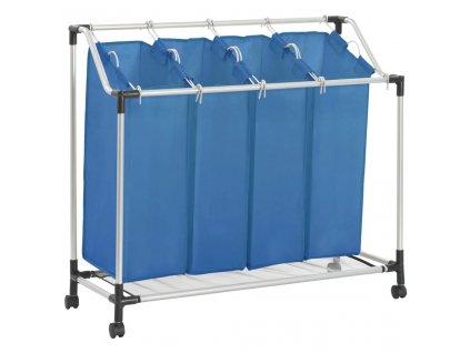 Koš na třídění prádla se 4 vaky modrý ocel