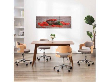 Sada nástěnných obrazů na plátně Paprika barevná 120 x 40 cm