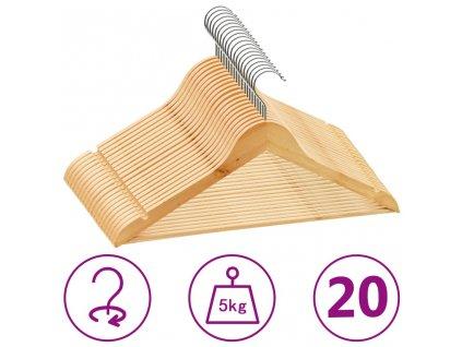 20 ks šatních ramínek protiskluzové tvrdé dřevo