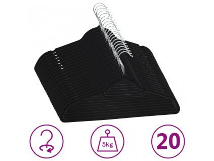 20 ks šatních ramínek protiskluzové černé samet