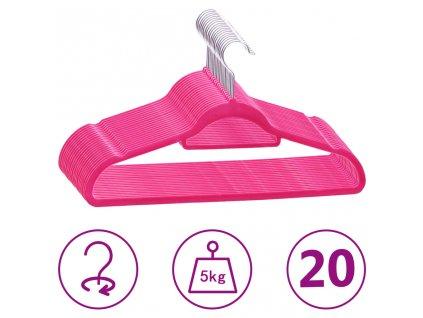 20 ks šatních ramínek protiskluzové růžové samet