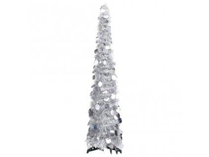 Rozkládací umělý vánoční stromek stříbrný 120 cm PET