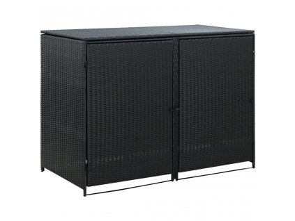 Dvojitý přístřešek na popelnice ratanový černý 148x80x111 cm