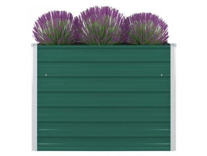 Vyvýšený záhon 100 x 100 x 77 cm pozinkovaná ocel zelený