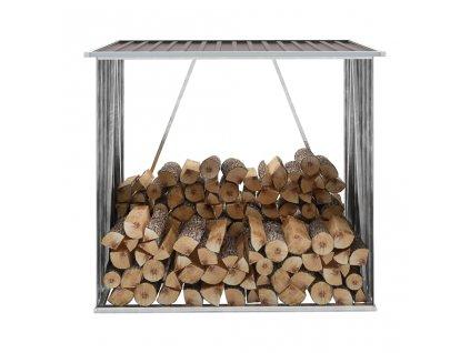 Zahradní kůlna na dříví pozinkovaná ocel 163x83x154 cm hnědá