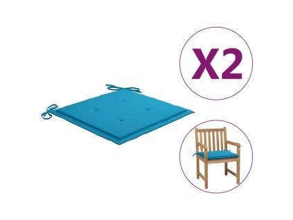 Podušky na zahradní židle 2 ks modré 50 x 50 x 3 cm