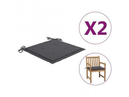 Podušky na zahradní židle 2 ks antracitové 50 x 50 x 3 cm