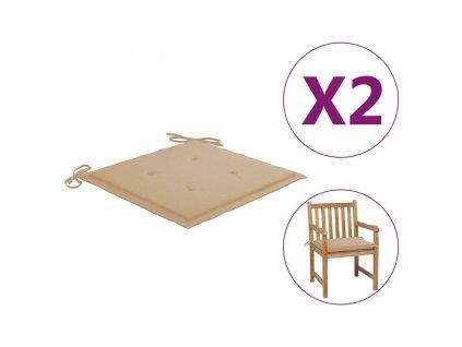Podušky na zahradní židle 2 ks béžové 50 x 50 x 3 cm