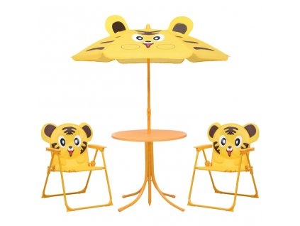 3dílný dětský zahradní bistro set se slunečníkem žlutý