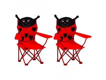 Dětské zahradní židle 2 ks červené textil