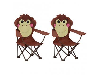Dětské zahradní židle 2 ks hnědé textil