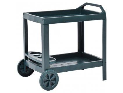 Nápojový vozík zelený 69 x 53 x 72 cm plast