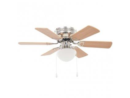Ozdobný stropní ventilátor se světlem 82 cm světle hnědý