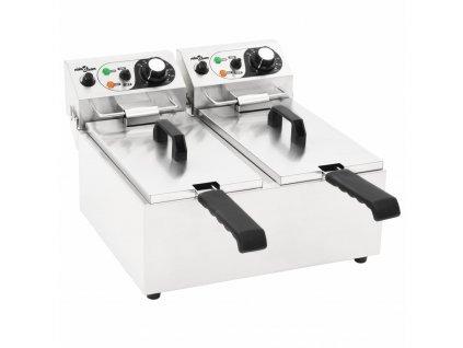 Dvojitá elektrická fritéza nerezová ocel 12 l 4 000 W