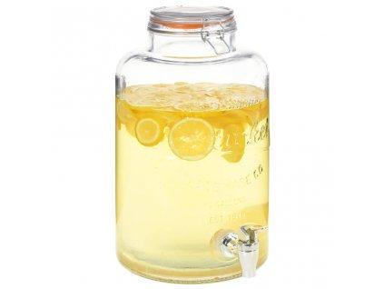 Zásobník na vodu s kohoutkem průhledný 8 l sklo