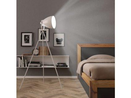 Třínohá stojací lampa kov bílá E27