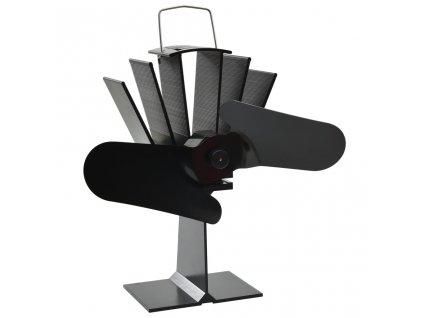 Teplem poháněný ventilátor na kamna 2 lopatky černý