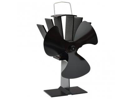 Teplem poháněný ventilátor na kamna 3 lopatky černý