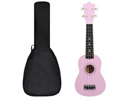"""Set soprano ukulele s obalem pro děti růžové 21"""""""