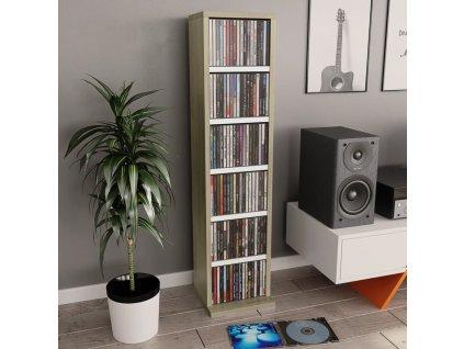 Skříňka na CD bílá a dub sonoma 21 x 20 x 88 cm dřevotříska