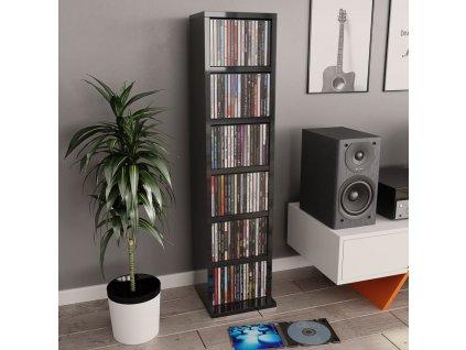 Skříňka na CD šedá s vysokým leskem 21 x 20 x 88 cm dřevotříska