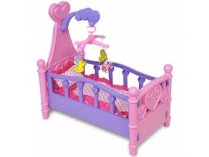 Dětská postýlka pro panenku růžovo-fialová