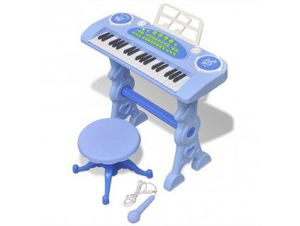 Dětské klávesy se stoličkou a mikrofonem 37 kláves modré