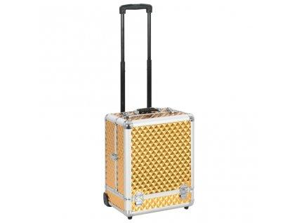 Kosmetický kufřík na kolečkách 35 x 29 x 45 cm zlatý hliník