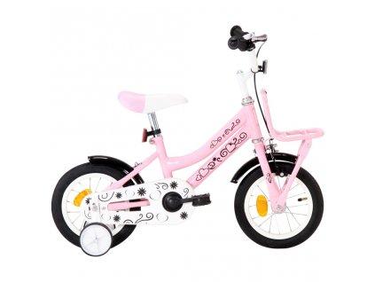 Dětské kolo s předním nosičem 12'' bílo-růžové