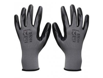 Pracovní rukavice nitrilové, 24 párů, šedo-černé, vel. 9/L