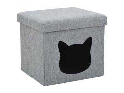 Skládací pelíšek pro kočky z umělého lnu 37 x 33 x 33 cm šedý