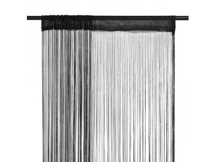 Provázkové záclony, 2 ks, 100x250 cm, černá
