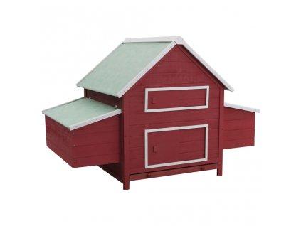 Kurník červený 157 x 97 x 110 cm dřevo