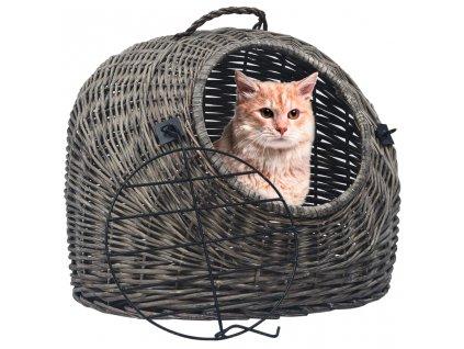 Přepravka pro kočku šedá 45 x 35 x 35 cm přírodní vrba