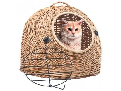 Přepravka pro kočku 45 x 35 x 35 cm přírodní vrba