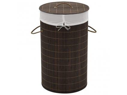 Bambusový koš na prádlo kulatý tmavě hnědý