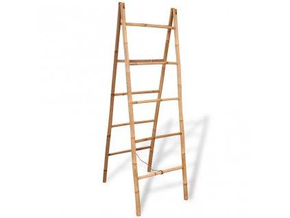 Dvojitý žebřík na ručníky s 5 příčlemi bambusový 50x160 cm
