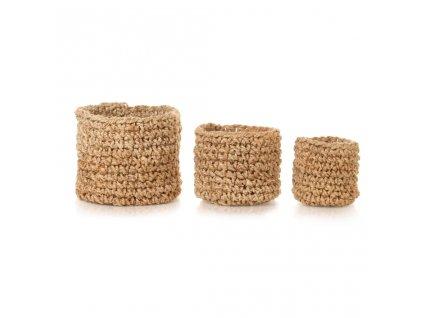Ručně pletená sada 3 košíků z juty přírodní