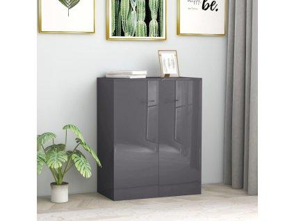 Příborník šedý s vysokým leskem 60 x 30 x 75 cm dřevotříska