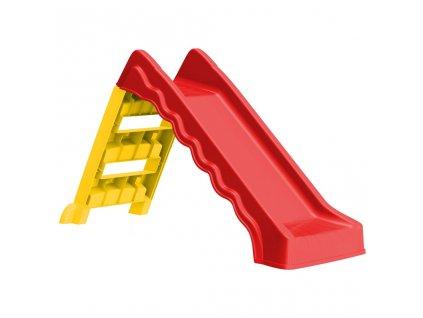 Skládací skluzavka pro děti dovnitř i ven červená a žlutá