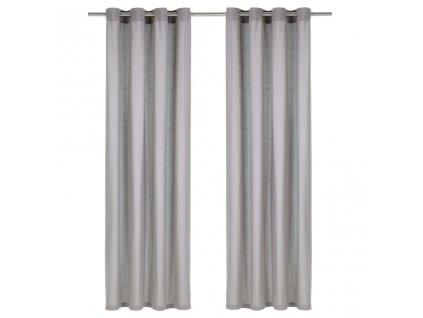 Závěsy s kovovými kroužky 2 ks bavlna 140 x 225 cm šedé