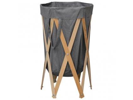 Skládací koš na prádlo šedý dřevo a textil